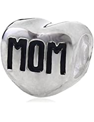 Choruslove Mom Written On Heart Charm 925 Sterling Silver MUM Bead For Mother Day European Bracelet Jewelry