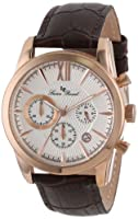 Lucien Piccard Men's LP-12356-RG-02S Mulhacen Chronograph White Textured Dial Brown Leather Watch from Lucien Piccard