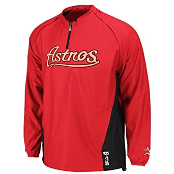 MLB Houston Astros Long Sleeve Lightweight 1 4 Zip Gamer Jacket by Majestic
