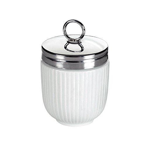 DRH Egg Coddler / Egg Poacher, White Embossed with Stripes