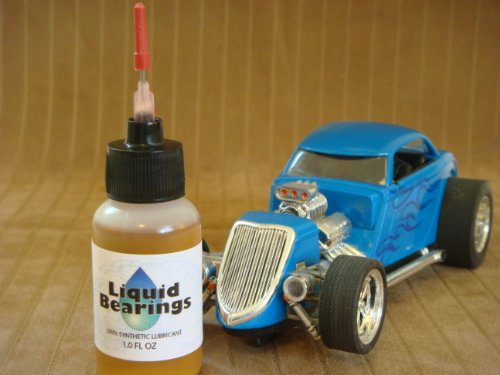 Liquid Bearings, SUPERIOR 100%-synthetic oil for all 1/24 scale slot cars, makes cars faster!!