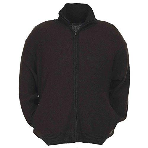 Cardigan taglie forti uomo Maxfort 4513 misto lana con zip e tasche - Nero, 1XL