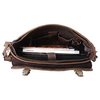 "Kattee Mens Briefcase, Full Grain Leather Messenger Shoulder Bag 16"" Laptop Tote 2"