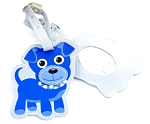 Childrens Dog Luggage Tag - Blue