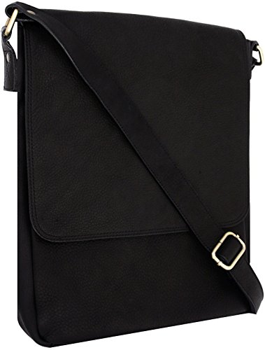 Leather Messenger Bag For 13 Inch Macbook Pro Holds Laptop Plus Ipad (Black) (Dr Panda Ga compare prices)