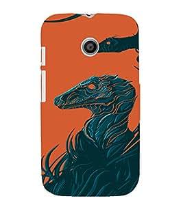 PrintVisa Modern Art Animal Dinosaur Design 3D Hard Polycarbonate Designer Back Case Cover for Motorola Moto E