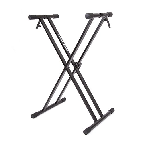 RockJam Xfinity Heavy-Duty, Double-X, Pre-Assembled, Infinitely Adjustable Piano Keyboard Stand with Locking Straps (Digital Keyboard Piano compare prices)