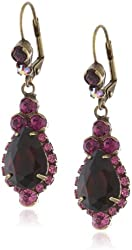 """Sorrelli """"Pink Orchid"""" Crystal Lined French Wire Gold-Tone Teardrop Earrings"""
