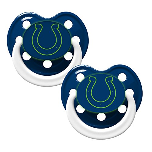 NFL Football Team Logo Baby Infant Glow In The Dark Pacifier 2-Pack (Indianapolis Colts)