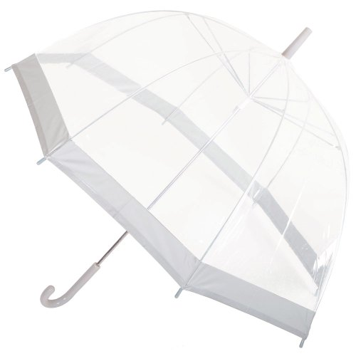 Drizzles Ladies Clear Dome Umbrella Brolly Grey Trim