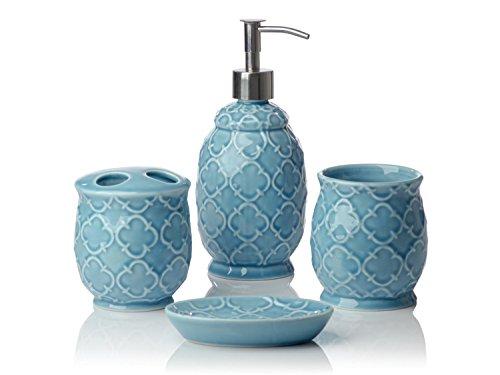4 piece bathroom accessories set moroccan trellis with - Anna s linens bathroom accessories ...