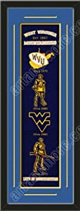 Heritage Banner Of West Virginia Mountaineers With Team Color Double Matting-Framed... by Art and More, Davenport, IA