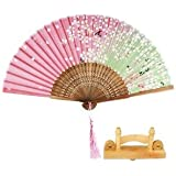 Alcoa Prime Portable Folding Fan Japanese Sakura Hand Held Fan Silk & Wooden Hold Stand