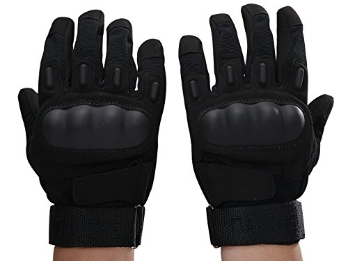 TIANZHE Mens Black Military Gloves Hard Knuckle Full Finger Military Gear (XL)