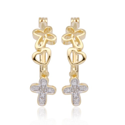 18k Yellow Gold Plated Sterling Silver Diamond-Accent Cross and Heart Hoop Earrings (0.7