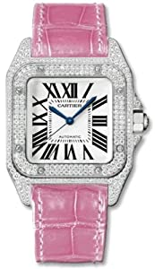 Cartier Santos 100 Diamond 18kt White Gold Pink Ladies Watch WM501751