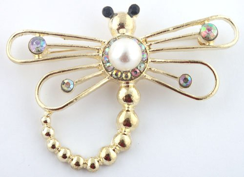 Ladies Gold Dragonfly Style Brooch Pin Pendant with Pearl and Rhinestones