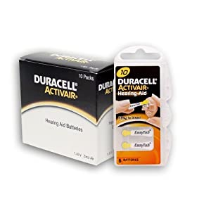 Duracell Size 10 Hearing aid Batteries (60 Batteries)