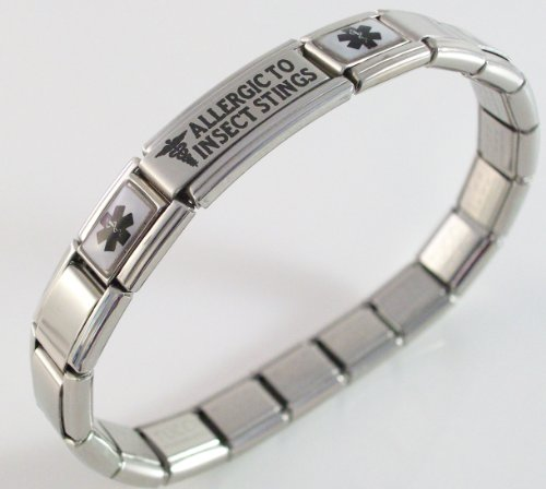 Allergic to Insect Stings Medical ID Alert Italian Charm Bracelet Allergy