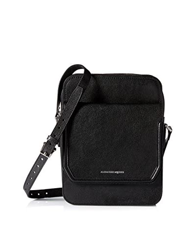 Alexander McQueen Men's Leather Messenger Bag, Black