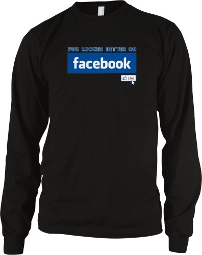 You Looked Better On Facebook Men's Thermal Shirt (Black, Large)