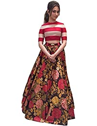 Clickedia Women's Banglori Silk Red Digital Flower Print Blouse Semi Stitched Lehenga Choli/ Chaniya Choli For...