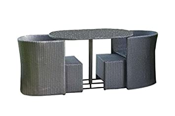 DC America SSR442429 5-Piece Soho All Weather Wicker Set with 24-Inch Round Table, 2 Arm Chairs and Smoked Glass Table Top