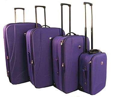 Purple Wheeled Lightweight Travel Trolley Luggage Suitcase Bag Case 4pc Set In 4 Different Sizes