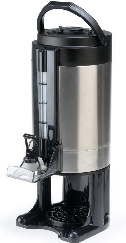 Gravity Hot Beverage Dispenser Has 2-Gallon Capacity, Stainless Steel Liner, Carrying Handle, Sight Gauge, Removable Drip Tray, Spring Action Spigot