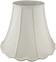 American Pride Lampshade Co. 19-78094108 Scallop Soft Tailored Lampshade, Shantung, Off-white