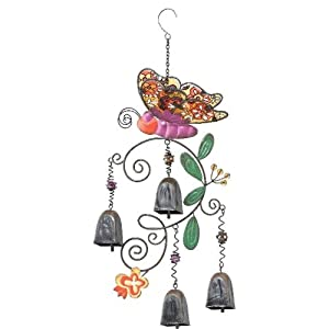 Bohemian Bells - Magenta Butterfly Wind Chime Glass Garden Bell By Regal Art & Gift 10357