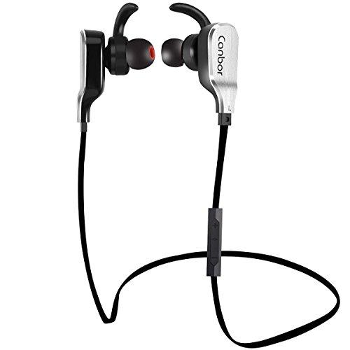 Cuffie Bluetooth, Canbor Auricolari Wireless Bluetooth a Cancellazione di Rumore, Cuffie Sportive a Prova d'acqua con Microfono, per Apple iPhone, iPad, Samsung Galaxy, Note e telefoni Android - Nero
