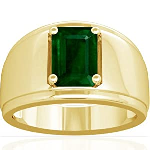 14K Yellow Gold Emerald Cut Emerald Mens Ring (GIA Certificate)