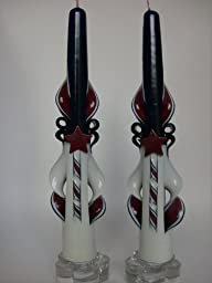 Patriotic or Americana Carved Taper Candles-10 Inch (Americana w/ Stars)