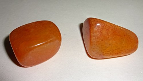 2pc Set Natural Fire Agate #B Premium Quality Polished Healing Crystal Tumbled Gemstone Stones -Courage, Protection, and Strength - 1