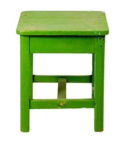 Bambeco Vintage European Painted Stool, Green