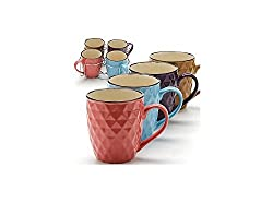 5 Piece Ceramic Mug Set, 4 Mugs and Metal Holder