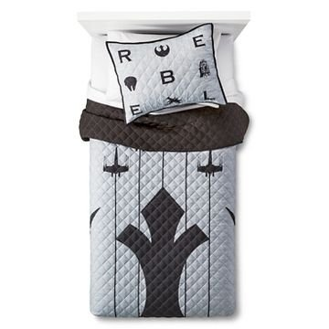 Star Wars Rebel Full/Queen Quilt and Shams Set black/grey (Star Wars Quilt Queen compare prices)