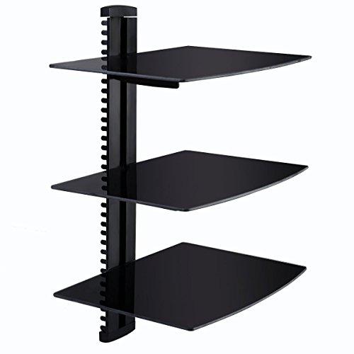 Giantex 3 Tier Dual Glass Shelf Wall Mount Bracket Under TV Component Cable DVR/DVD (Glass Shelves Tier compare prices)