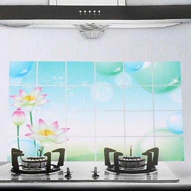 JJE90x60cm Lotus Pattern Oil-Proof Water-Proof Kitchen Wall Sticker