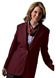 Edwards Garment Women\'s Two Button Single Breasted Blazer, Burgundy, 14