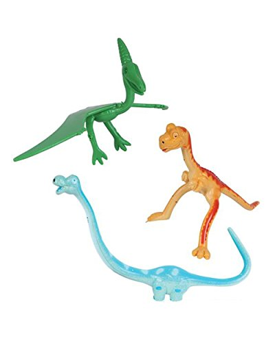 One Dozen 'Fun Toys' Bendable Dinosaurs: T-Rex, Brachiosaurus and Pteranadons - 3.25 to 7.75 inches long