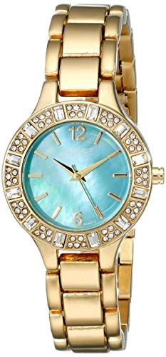 August Steiner Women's Swarovski Crystal-Accented Gold-Tone Bracelet Watch