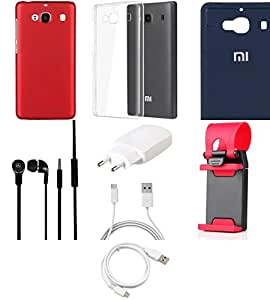 NIROSHA Cover Case Charger Headphone USB Cable Mobile Holder for Xiaomi Redmi 2s - Combo