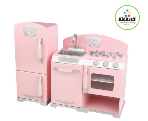 Kidkraft Retro Kitchen and Refrigerator in Pink