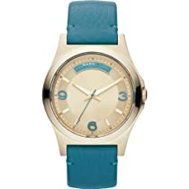 Marc by Marc Jacobs Baby Dave Champagne Dial Teal Leather Unisex Watch MBM1263