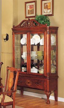Image of Curio China Cabinet Cherry Brown Finish (VF_AM6360)