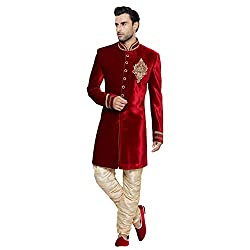 EthnicCrush Red Velvet Embroidered Sherwani