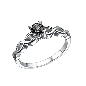 0.50 Carat Black Diamond Engagement Ring 14K White Gold Twisted Braided Solitaire