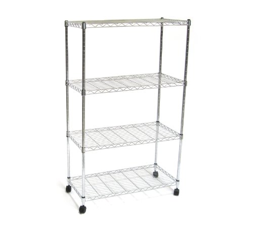 Seville Classics SHE14304 Home Style Mobile 4-Shelf Storage System, Chrome